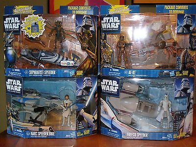Star Wars The Clone Wars 4 different Vehicles w/figure sealed boxes 1 Toys R Us