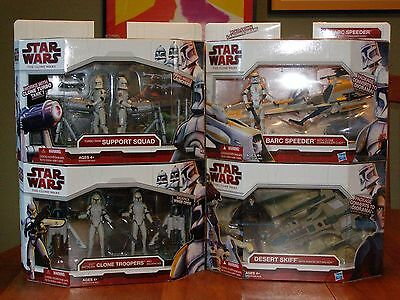 Star Wars The Clone Wars 4 different Vehicles w/figure sealed boxes