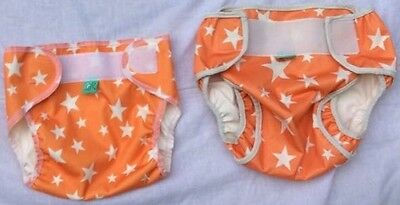 Tot Bots orange star print MCN nappy covers