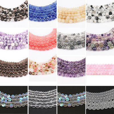"15"" Colorful Natural Quartz Agate Gemstone Stone Round Spacer Loose Beads 4-10MM"