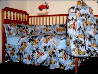 Hawaiian Surfer Baby Crib/Youth Bed-Bed Skirt From Polynesian Designs, Tropica,