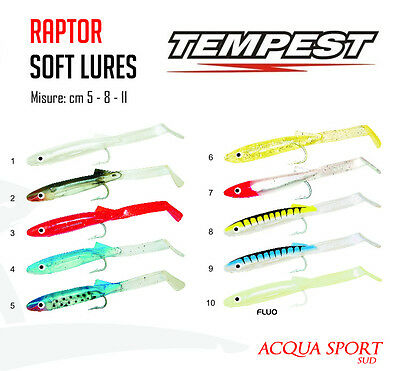 Esca Artificiale TEMPEST AQS RAPTOR Soft Lures Traina Blister 10 Pezzi