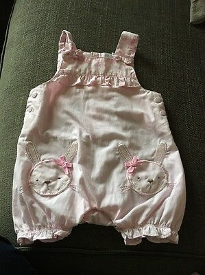 Baby Girl Pink Bunny Dungarees 0-3 Months