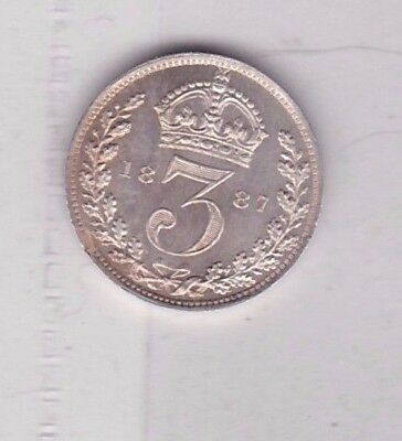 1887 Victoria Jubilee Head Silver Threepence In Near Mint Condition