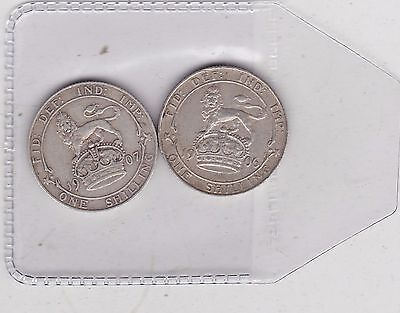1906 & 1907 Edward Vii Shillings In Good Fine Or Better Condition