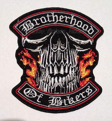 Embroidered Iron Or Sew On Cloth Biker Patch ~ Brotherhood Of Bikers ~