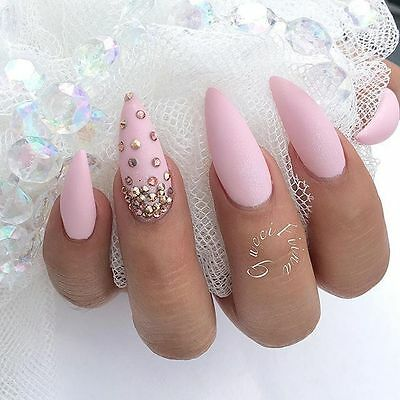 baby pink stiletto false nails matte crystals hand painted small medium large