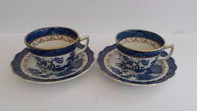"Booths ""Real Old Willow"" A8025 Gilded Pair of Teacups and Saucers."