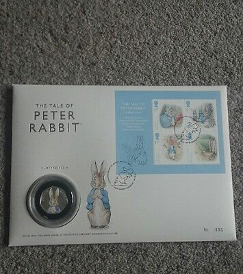 Beatrix Potter Peter Rabbit Silver Proof 50p Coin Pnc Only 500 Made Very Rare!!