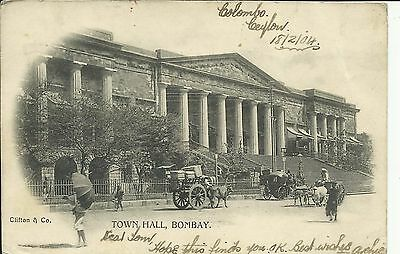 Bombay, Town Hall; 1904; undivided back, posted from Ceylon to Scotland