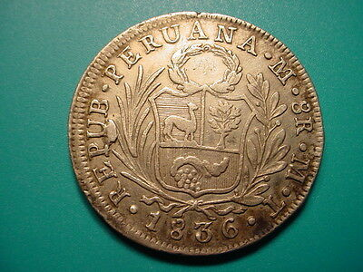 Peru~Large Silver 1836 MT 8-Reales in Very Nice Condition!