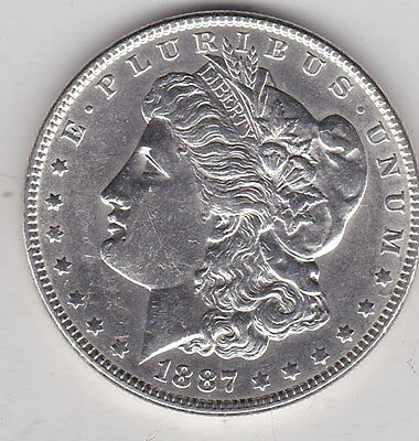 Usa 1887 Silver Morgan Dollar In Extremely Fine Condition