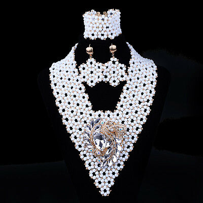 Latest Design White V Netted African Beads Jewellery with Brooches Jewellery Set