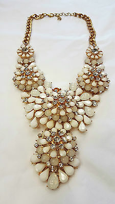 Costume jewellery evening white gold colour necklace bling