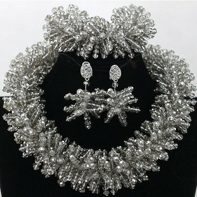 Silver Choker African Beads Bridal Wedding Party Jewelry Set