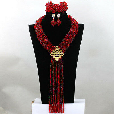 Red Braid Unique African Beads Bridal Wedding Jewelry Party Necklace Set