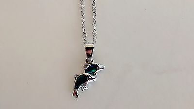 Natural Shell Jewelry Dolphin Design Necklace Twin Dolphin Design w Paua Shell