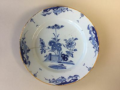 18th Century Large Delft Blue and White Plate for Restoration