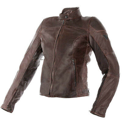 Dainese Mike Lady Retro Leather Motorcycle Jacket - Dark Brown