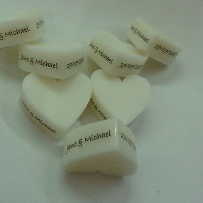 20 White Heart Handmade Mini Personalised White Soaps - Wedding Favours/gifts