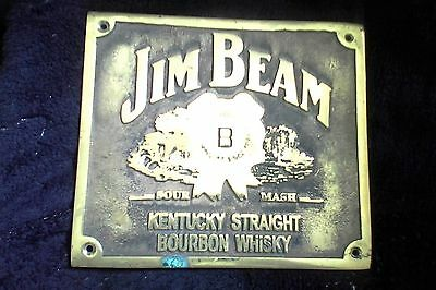 jim beam brass plaque - heavy logo -great on front of bar