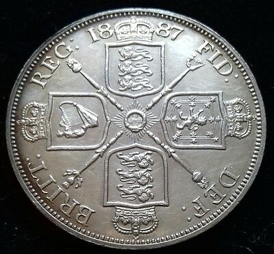 1887 Double Florin. Superb A/unc With Prooflike Appearance.