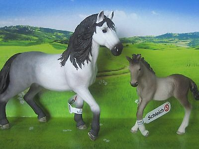 NEW Schleich Pony Horse Club Andalusian Stallion 13821 + foal 13822 Stable Farm
