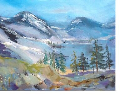 Signed Original Acrylic Landscape Painting - Mountain View - by Annabel Burton