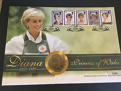 First Day Coin Cover - Diana Princess of Wales Tribute Kensington Palace stamped