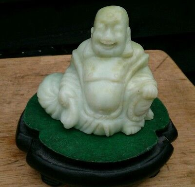 Jade Chinese Natural Carved Nephrite Jade Celadon  Buddha