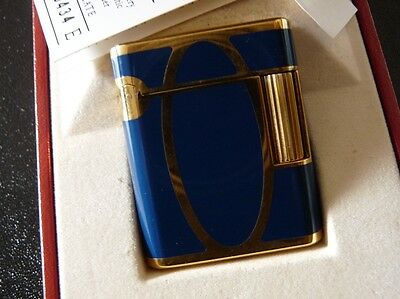 "Dupont ""SOUBRENY"" Blue Laque de Chine/18k Gold plated Lighter,Line1,"