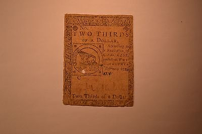 Continental Currency February 17, 1776 $2/3 Very Good-Fine.