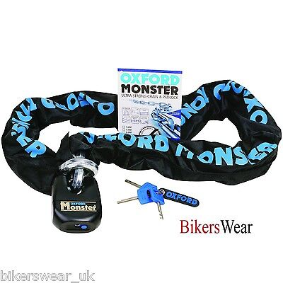 Oxford Monster 1.5m Ultra Strong Motorcycle Security Chain & Padlock OF17