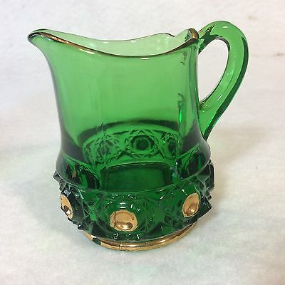 "Vintage Emerald Green & Gold Glass Mini Creamer 3"" Tall Beautiful Green Color"