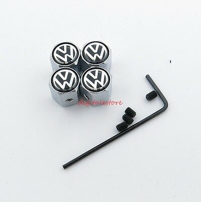 4PCS Anti Theft Car Wheel Tire Valves Stem Air Cover Caps Fit For VW Volkswagen