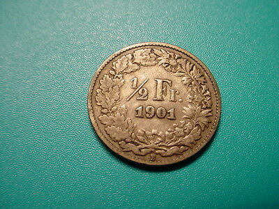 Switzerland~Scarce Date 1901 1/2-Franc in Very Nice Condition!