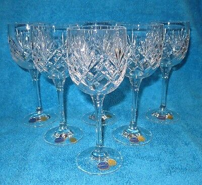 Bohemia Crystal Quality Lead Crystal Wine  Glasses X 6 22.5 Cl Unused With Label