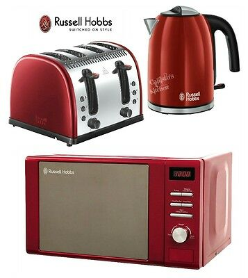 Russell Hobbs Microwave Kettle and Toaster Set Jug Kettle & 4-Slice Toaster Red