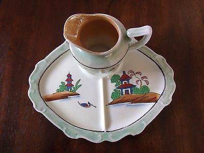 Japaneese Handpainted Lusterware T&T Plate and Pitcher