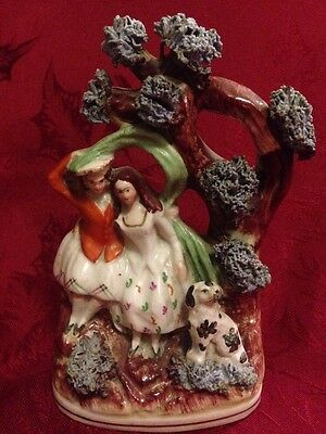 Antique Staffordshire Figure Couple With Spaniel Dog