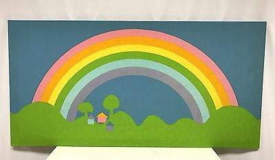 vintage 1976 SATEENSAARI TAMPELLA fabric wall pop art rainbow finland 48 x 24