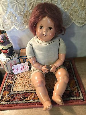"Vintage 22"" Ideal baby doll with soft mohair wig, some TLC issues"