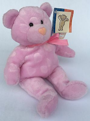 Vintage Mary Meyer CAMEO Bear Hearts embossed pink Beaners Plush Bean Bag NEW!