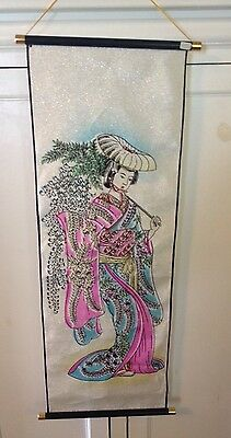 Beautiful Vintage Japanese Geisha Girl Wall Hanging Scroll