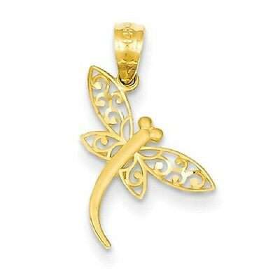 14k Yellow Gold Textured Dragonfly Pendant 19x10mm