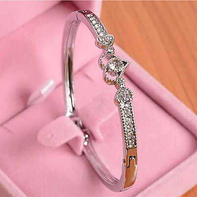 *UK* Ladies 925 silver Crystal heart Bangle Bracelet Jewellery xmas Gift party