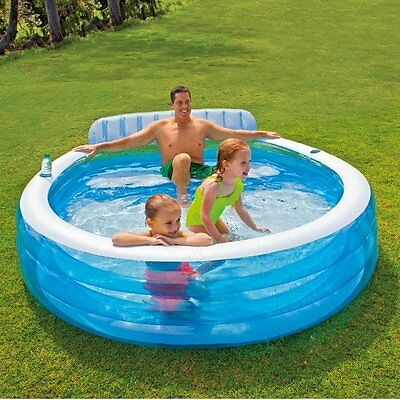 Intex Swim Kiddie Pools Center Inflatable Family Seat Bench Lounge Pool 88X85X30