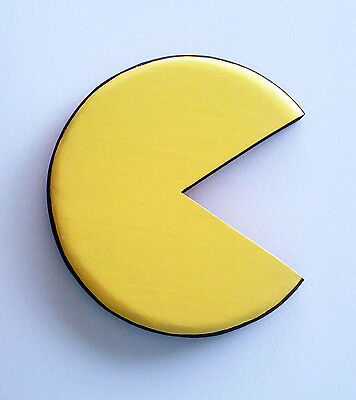 Pac-Man Pacman wall art hand painted plaque for room / arcade awesome gamer gift
