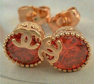 Designer Red Crystal Yellow Gold Stud Earrings, 9mm