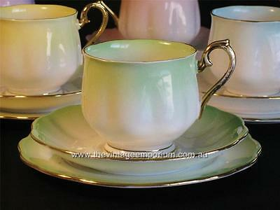 ROYAL ALBERT vintage bone china trio RAINBOW green  Hampton shape cup.